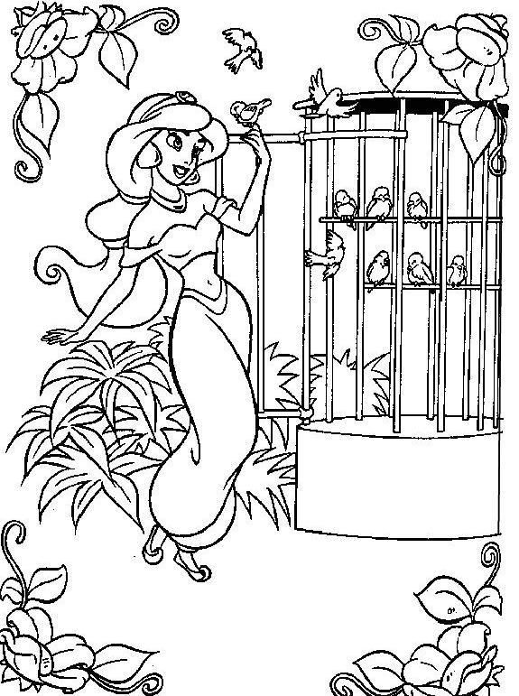 Coloriage a imprimer princesse jasmine et ses oiseaux - Coloriage a imprimer de princesse gratuit ...