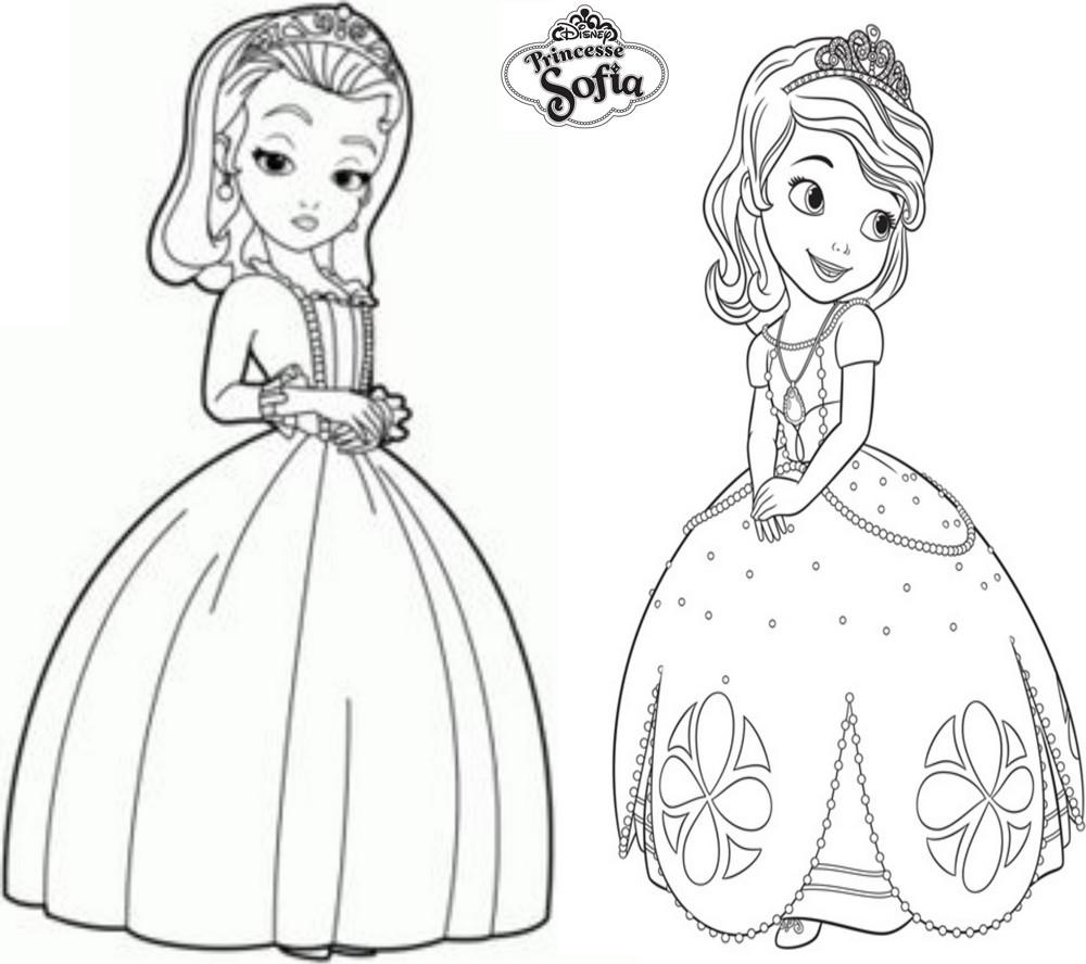 Coloriage Gratuit Princesse Sofia.Coloriage A Imprimer Princesse Sofia Et Ambre Gratuit Et Colorier