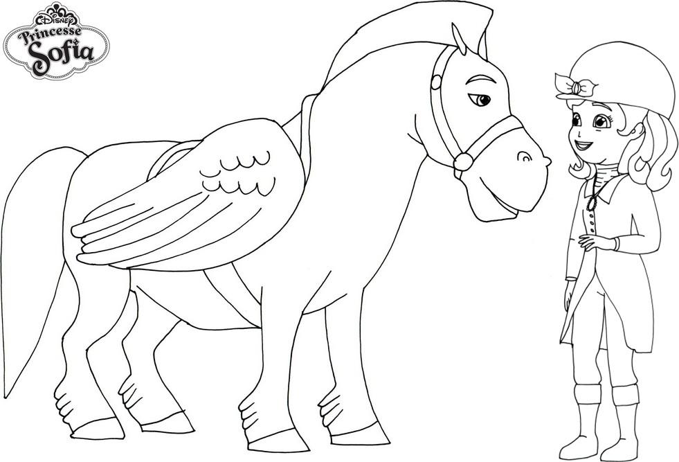 Coloriage De Cheval Avec Des Ailes.Coloriage A Imprimer Princesse Sofia Et Minibus Le Cheval Aile