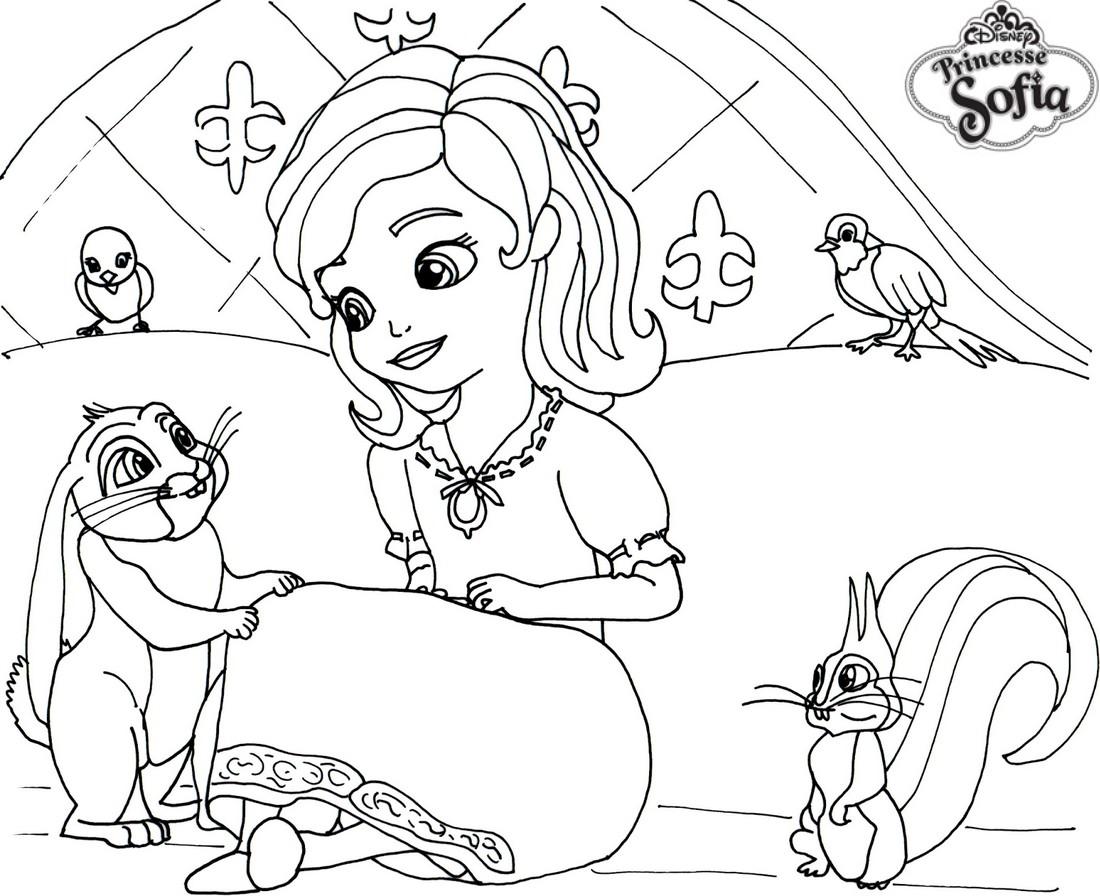 Coloriage Gratuit Princesse Sofia.Coloriage A Imprimer Princesse Sofia Sur Son Lit Gratuit Et Colorier