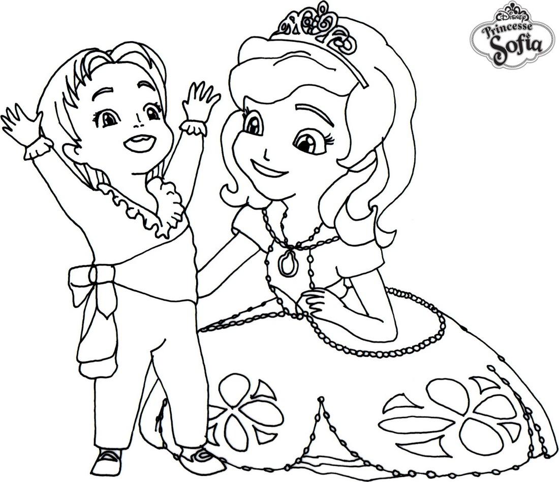 Coloriage De Prince Et Princesse A Imprimer.Coloriage A Imprimer Princesse Sofia Et Le Prince James