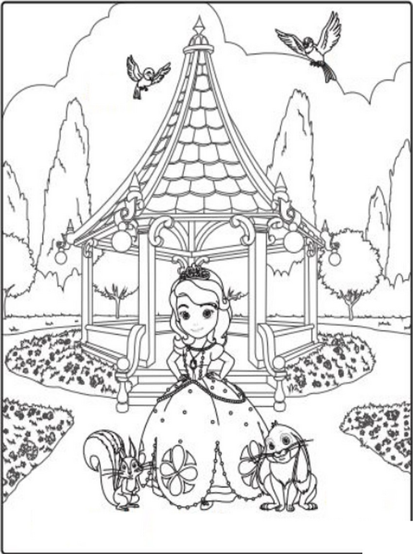 Coloriage Gratuit Princesse Sofia.Coloriage A Imprimer Princesse Sofia Et Ses Amis Au Parc Gratuit Et