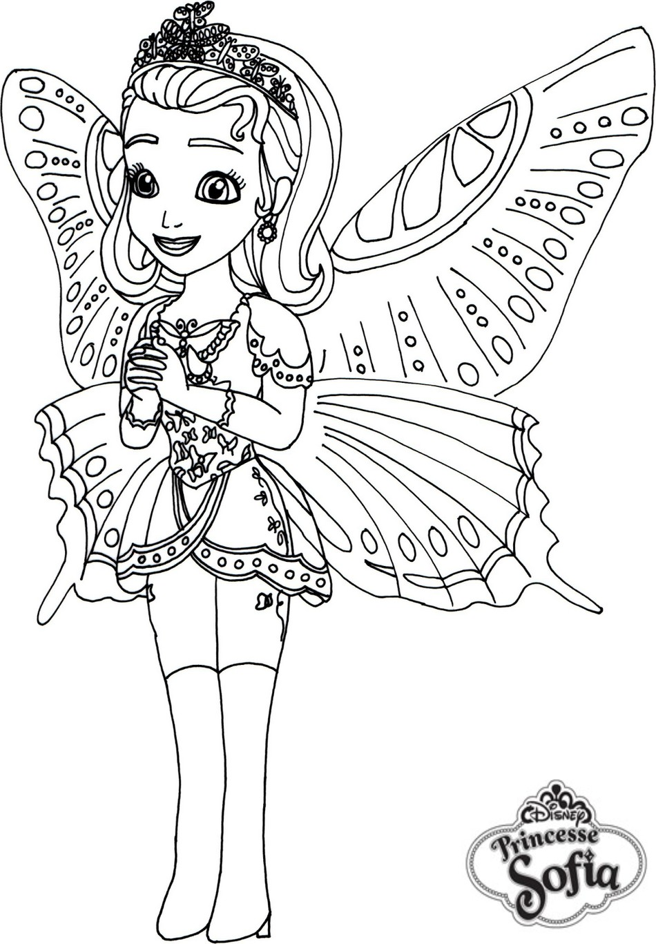 coloriage princesse sofia papillon - Coloriages Princesse