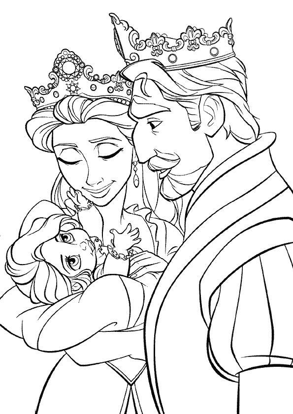 Coloriage a imprimer raiponce bebe avec le roi et la reine - Dessin raiponce ...