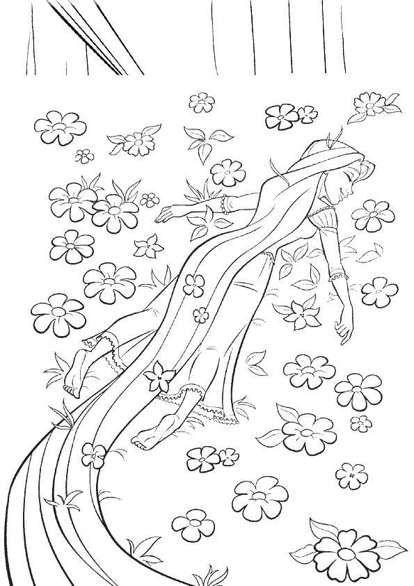 Coloriage a imprimer raiponce dans le champ de fleurs - Coloriage a imprimer de raiponce ...