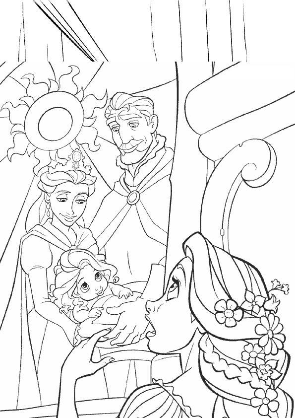 Coloriage a imprimer raiponce devant un portrait de famille gratuit et colorier - Bebe raiponce ...