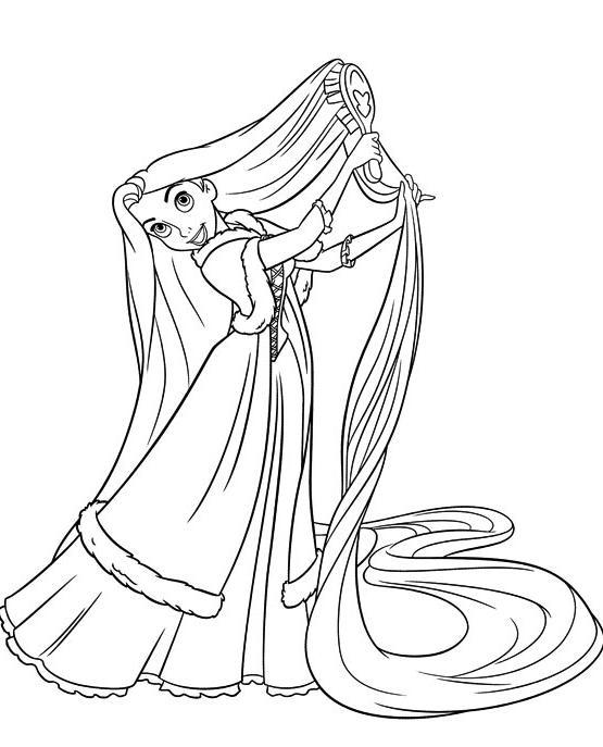 coloriage raiponce se coiffe - Dessin Colorier
