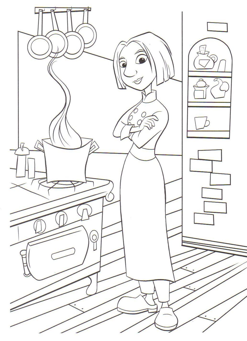 coloriage a imprimer ratatouille colette dans la cuisine gratuit et colorier. Black Bedroom Furniture Sets. Home Design Ideas