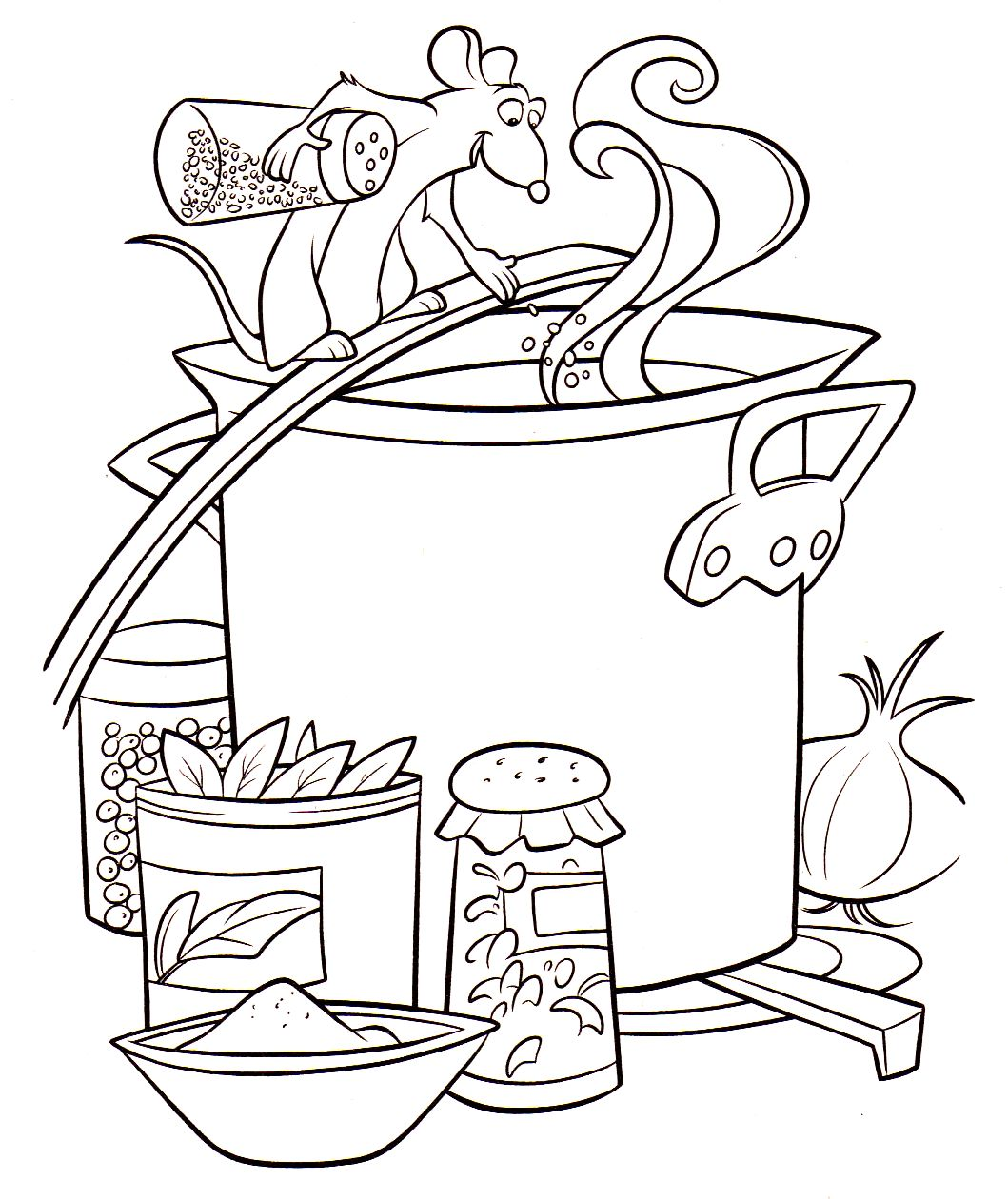 Coloriage a imprimer ratatouille remy cuisine gratuit et for Dessin cuisine