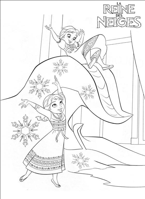 Coloriage a imprimer reine des neige anna et elsa jouent dans la neige gratuit et colorier - Coloriage anna et elsa ...