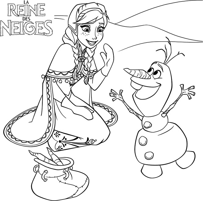 Coloriage a imprimer reine des neige anna rencontre olaf gratuit et colorier - Coloriage anna et elsa ...