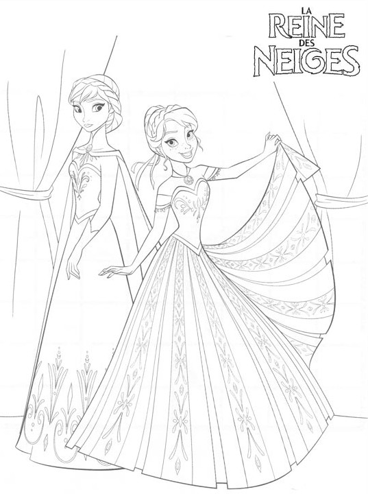 Coloriage a imprimer reine des neige elsa et anna le jour - Coloriage princesse des neiges ...