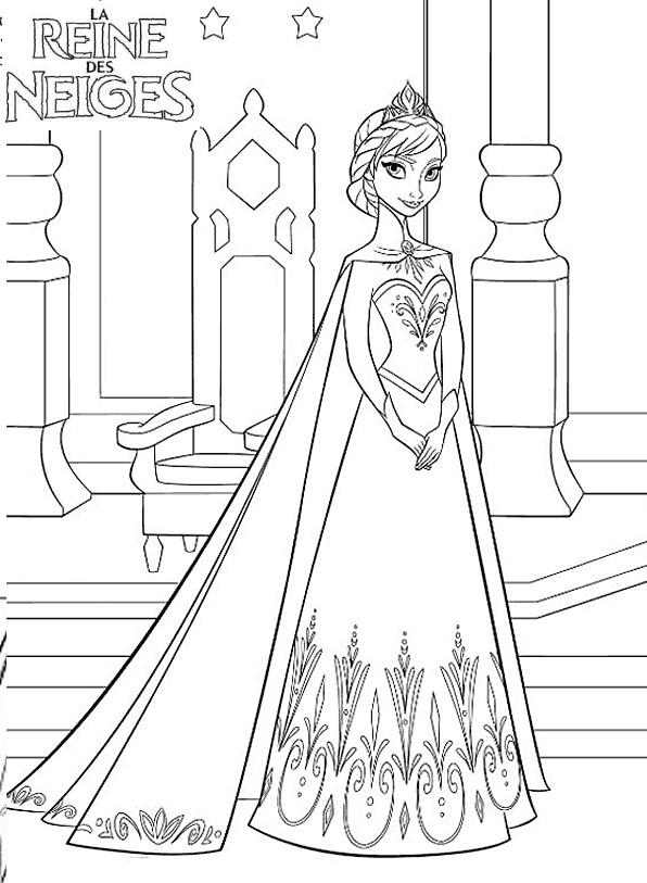 Coloriage a imprimer reine des neige elsa ouvre les portes du palais gratuit et colorier