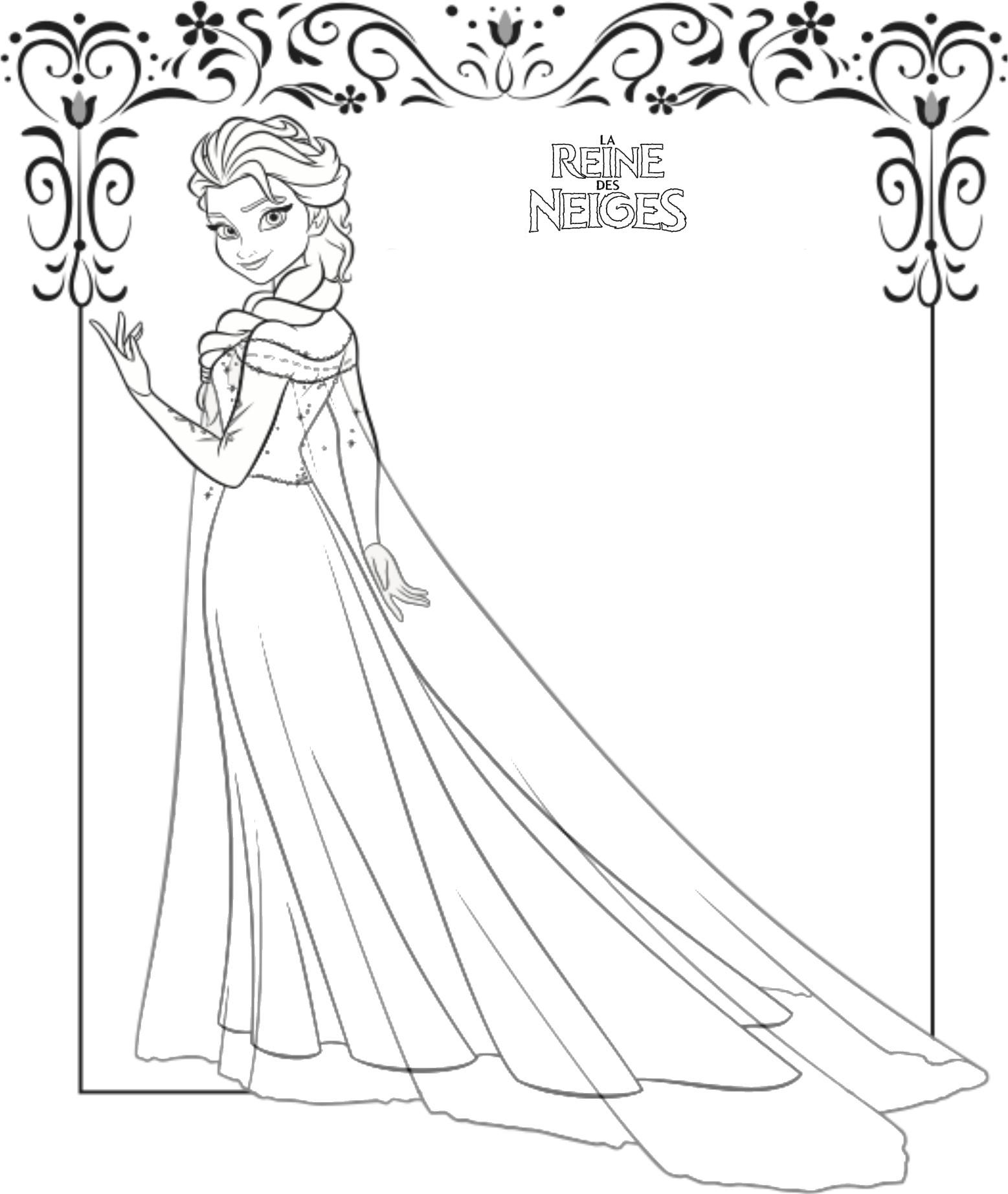 Coloriage a imprimer reine des neige elsa gratuit et colorier - Dessin de reine des neiges ...