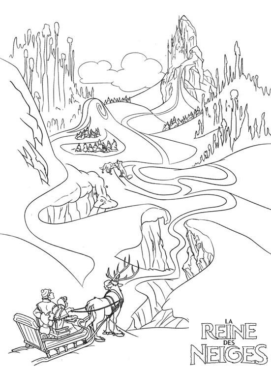Coloriage A Imprimer Reine Des Neige Kristoff Et Anna Arrivent A La Montagne Du N Gratuit Et Colorier