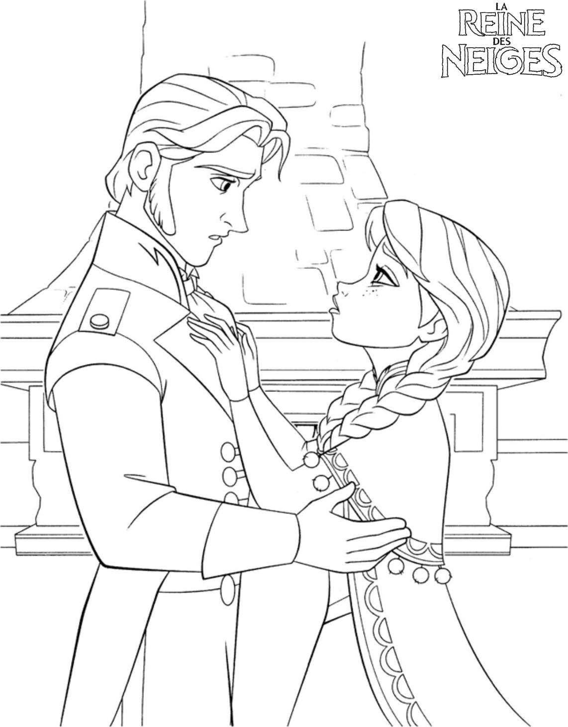 Coloriage a imprimer reine des neige le baiser gratuit et - Coloriage de reine des neiges ...