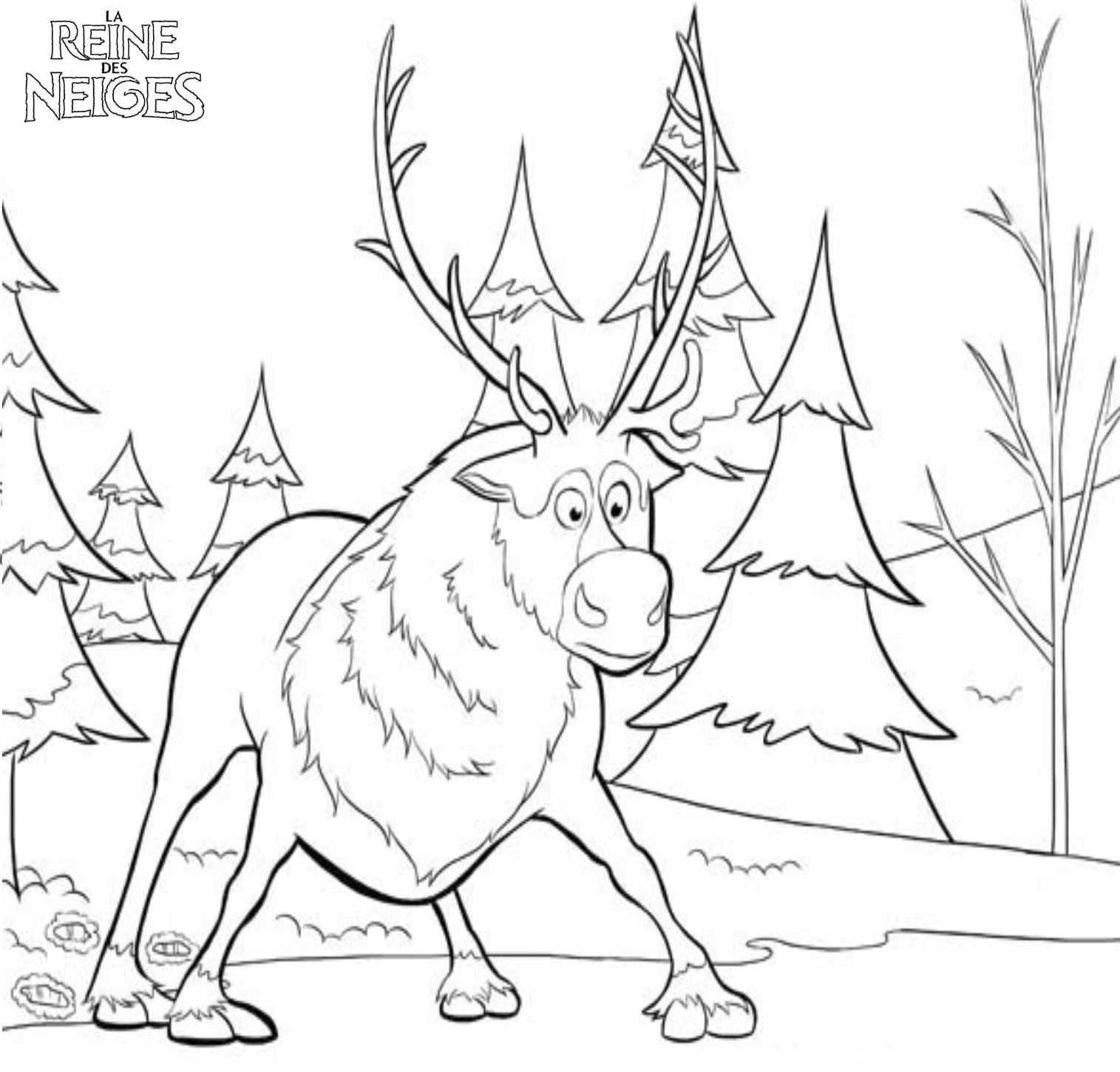 Coloriage a imprimer reine des neige swen le renne gratuit et colorier