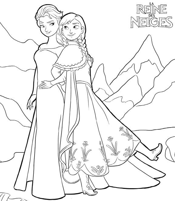 Coloriage a imprimer reine des neiges anna et elsa se retrouvent gratuit et colorier - Imprimer la reine des neiges ...