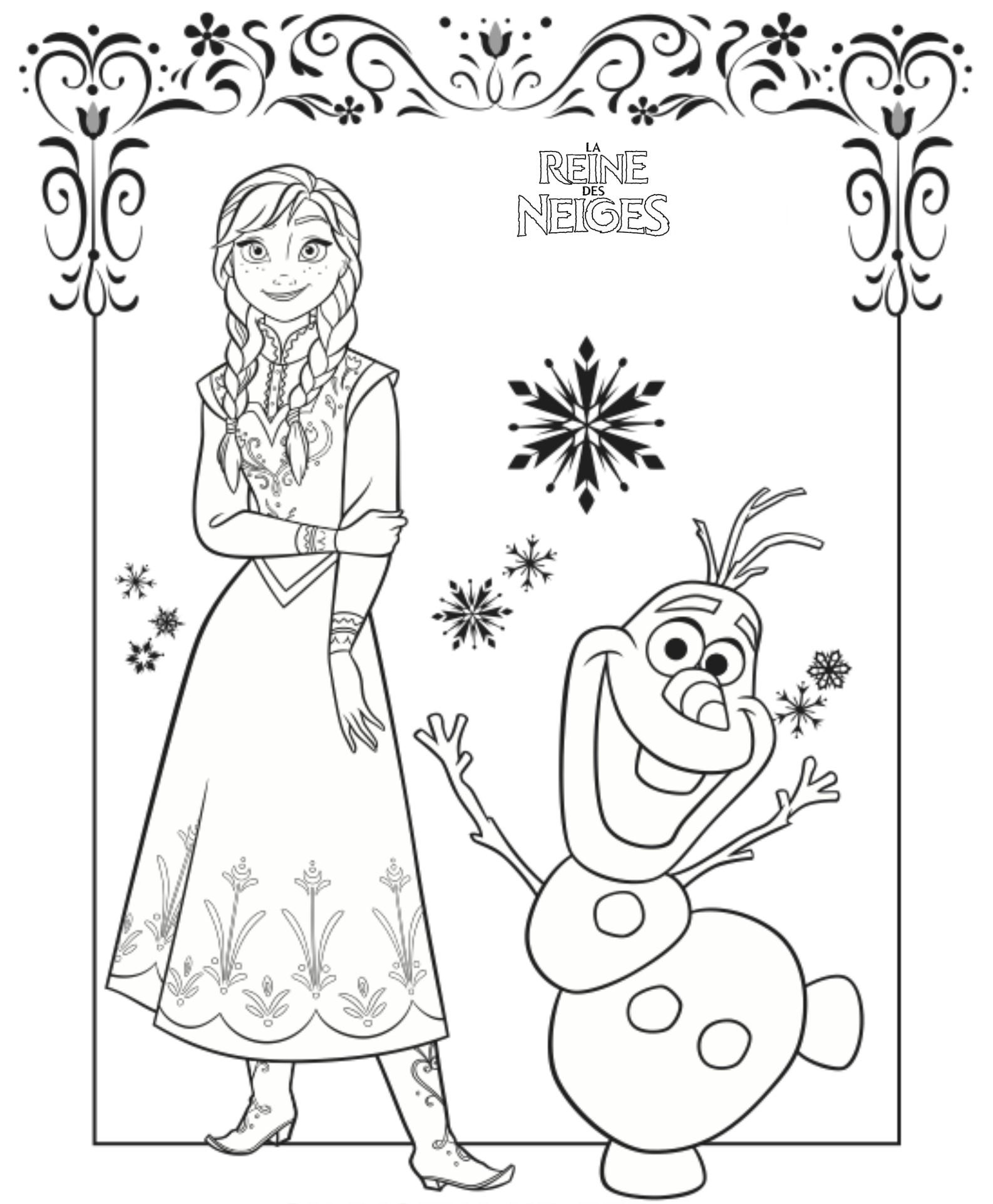 Coloriage a imprimer reine des neiges anna et olaf gratuit - Princesse des neiges ...