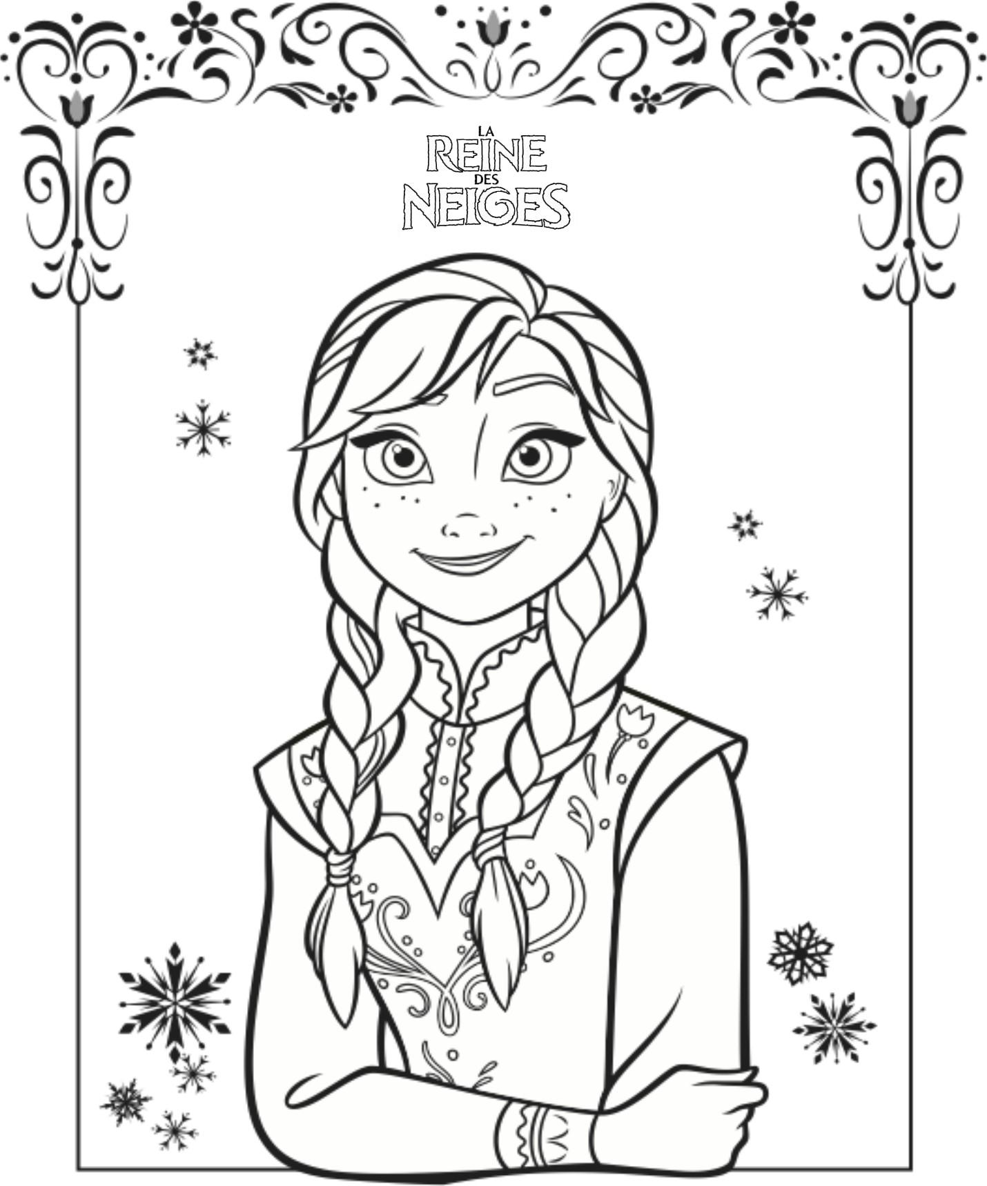 Coloriage a imprimer reine des neiges anna gratuit et colorier - Jeux gratuits de reine des neige ...