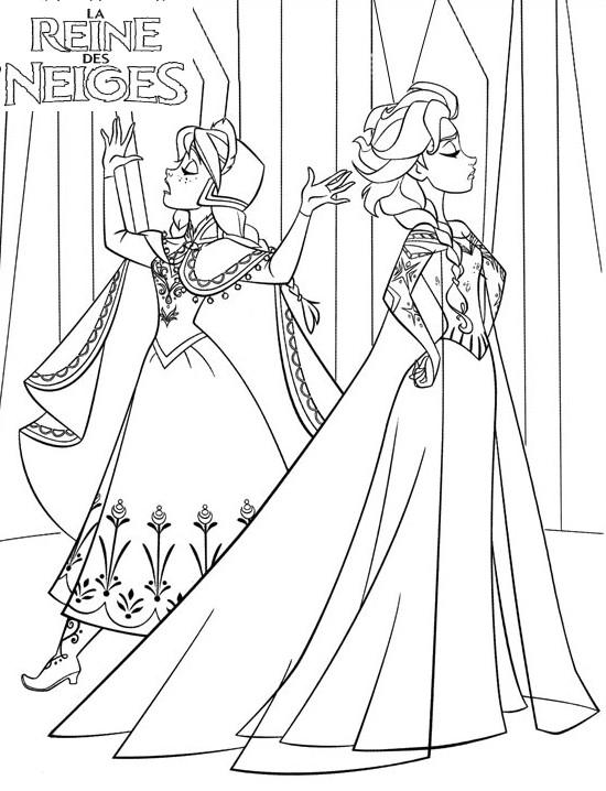 Coloriage A Imprimer Elsa Et Anna Ne S Entendent Pas Gratuit Et Colorier