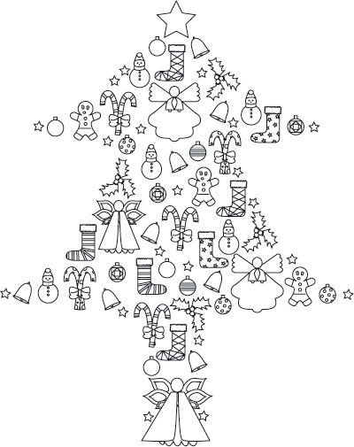 Coloriage a imprimer sapin de noel decoration gratuit et for Decoration de noel dessin