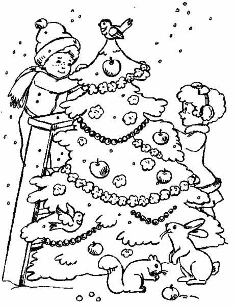 Coloriage a imprimer sapin de noel les enfants mettent les - Image sapin de noel gratuit ...