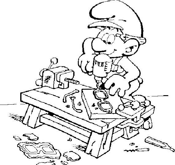 Coloriage a imprimer schtroumpf bricoleur gratuit et colorier - Bricoleur dessin ...