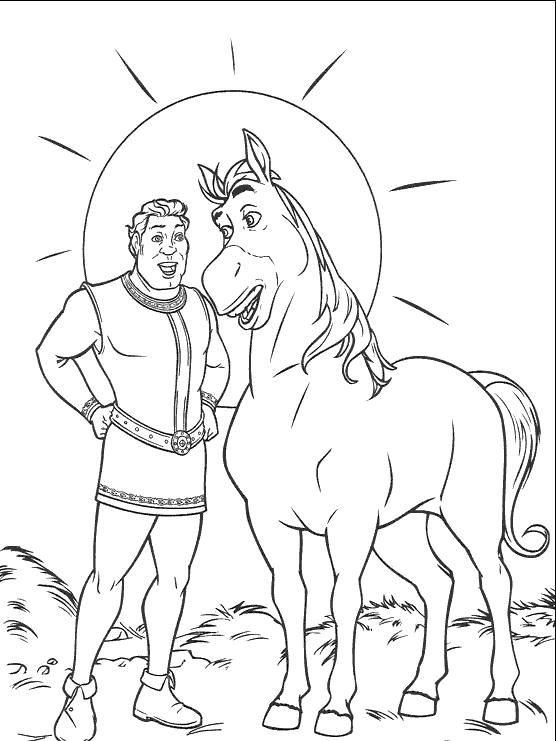 Coloriage a imprimer shrek en homme avec le cheval gratuit - Coloriage shrek ...
