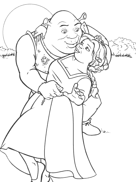 coloriage shrek et la princesse fiona