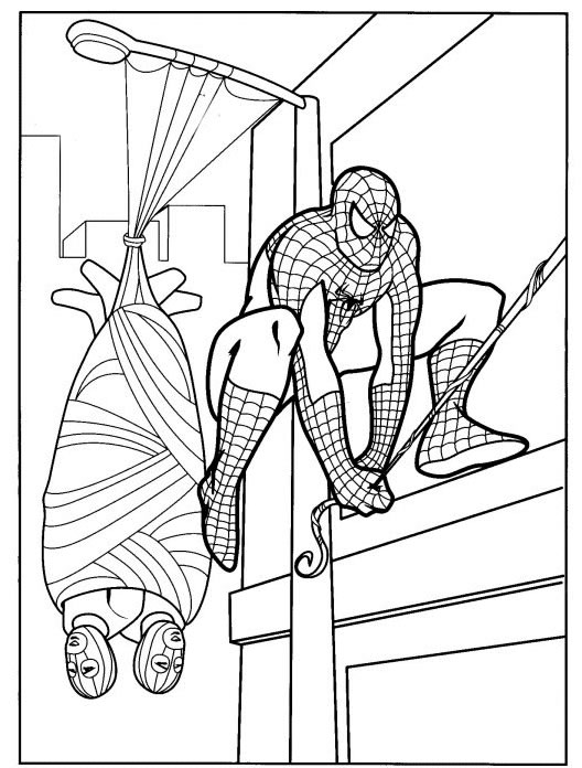 Coloriage a imprimer spiderman arretant des voleurs gratuit et colorier - Photo de spiderman a imprimer gratuit ...
