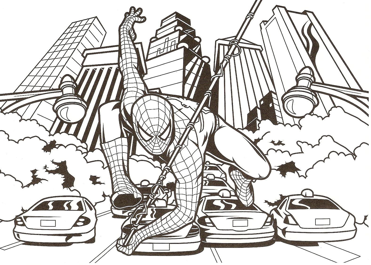 Coloriage a imprimer spiderman au bout de la toile gratuit - Tete de spiderman a imprimer ...