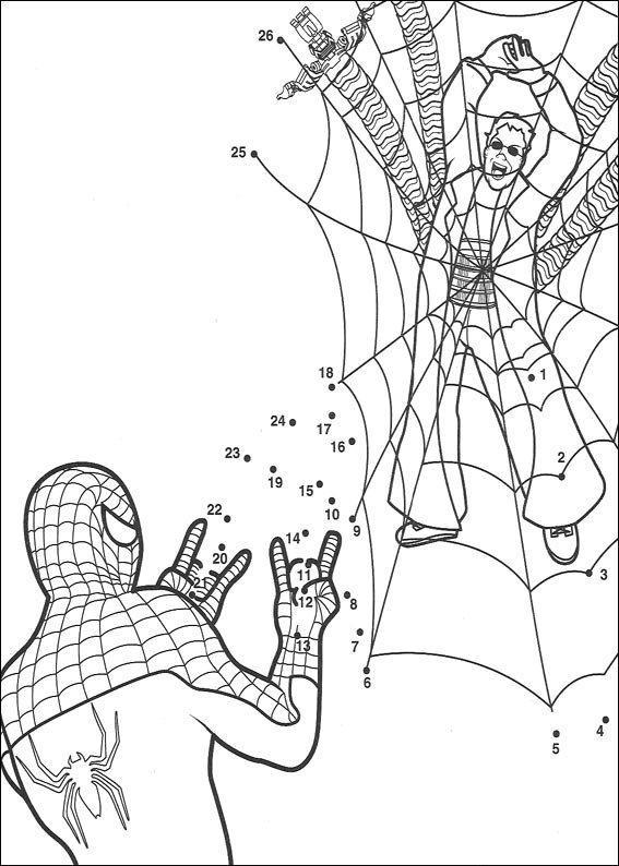 Coloriage point a point a imprimer spiderman combat ...