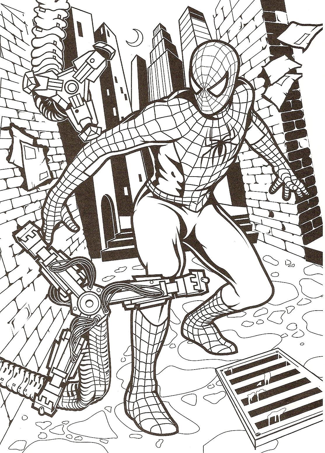 Coloriage A Imprimer Spiderman Contre Les Machines Gratuit Et Colorier