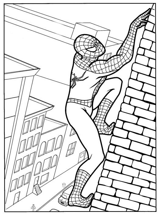 coloriage spiderman grimpe sur un mur