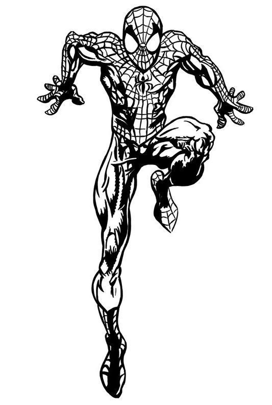 Coloriage a imprimer spiderman sur la pointe des pieds gratuit et colorier