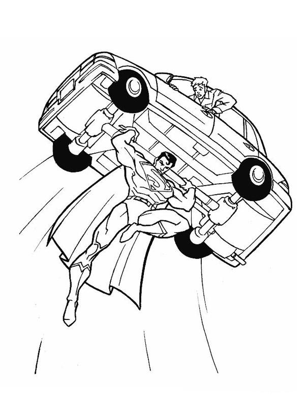 Coloriage a imprimer superman porte une voiture gratuit et colorier - Coloriage superman a imprimer ...