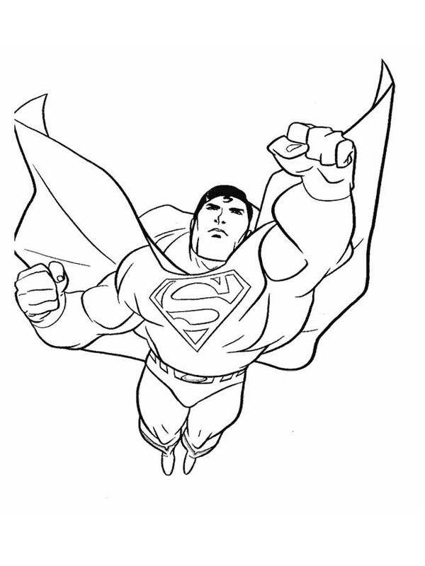 Coloriage a imprimer superman vole poing en avant gratuit - Coloriage de super hero ...