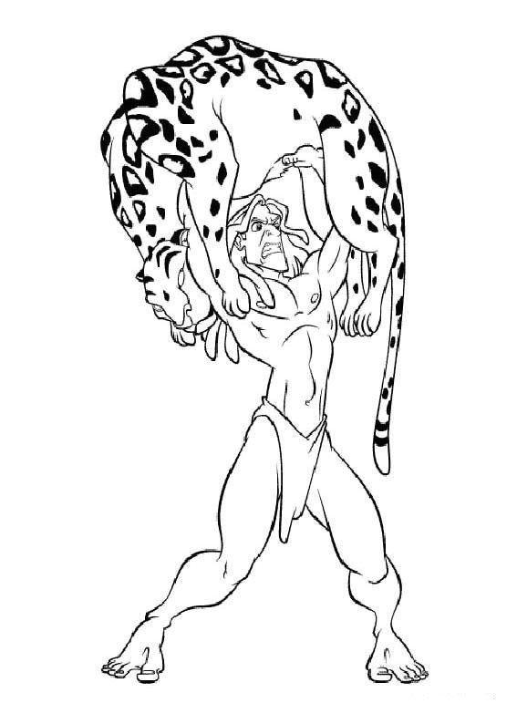 Coloriage a imprimer tarzan combat un jaguar gratuit et - Jaguar dessin ...