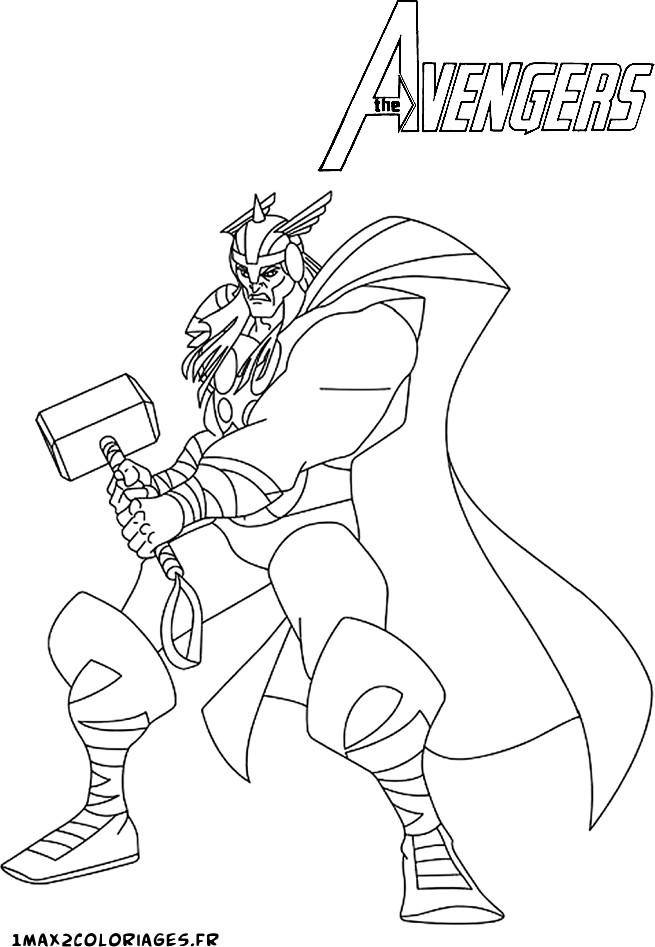 coloriage thor et son marteau avengers
