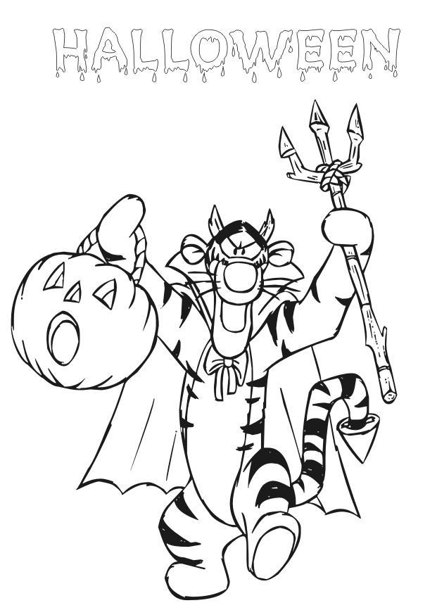 Coloriage a imprimer tigrou a halloween gratuit et colorier