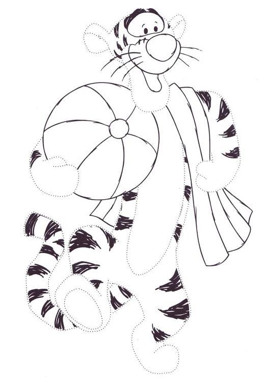 Coloriage point a point a imprimer tigrou a la plage gratuit et colorier