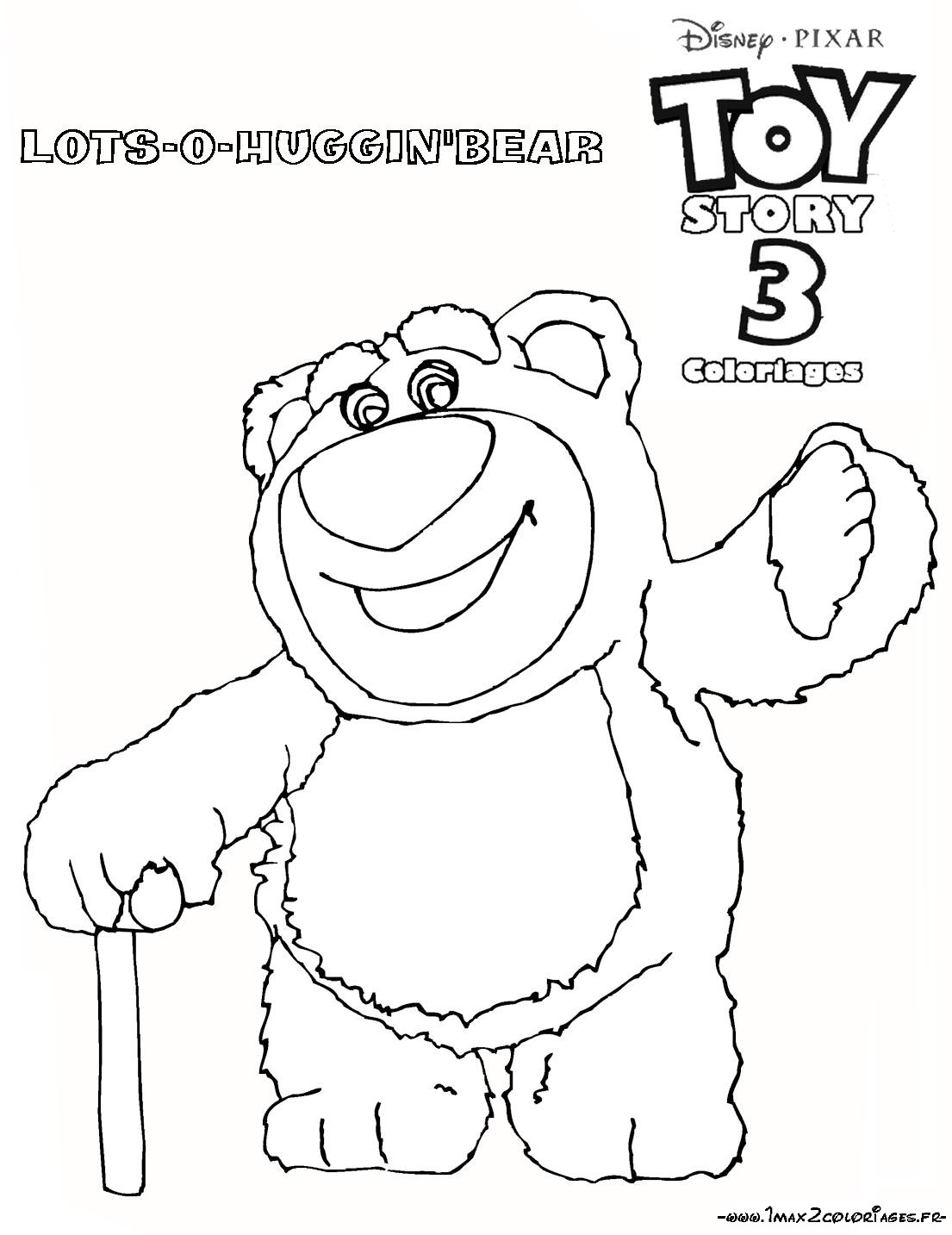 Coloriage a imprimer toy story 3 huggin l ours gratuit et colorier - Coloriage toy story 3 ...