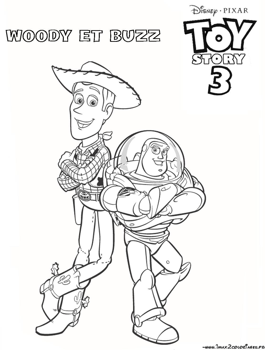 Coloriage A Imprimer Woody Et Buzz.Coloriage A Imprimer Toy Story 3 Woody Et Buzz Gratuit Et