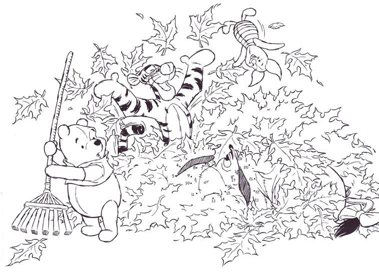 Coloriage point a point a imprimer winnie et ses amis sous les feuilles gratuit et colorier - Dessin ourson a imprimer ...