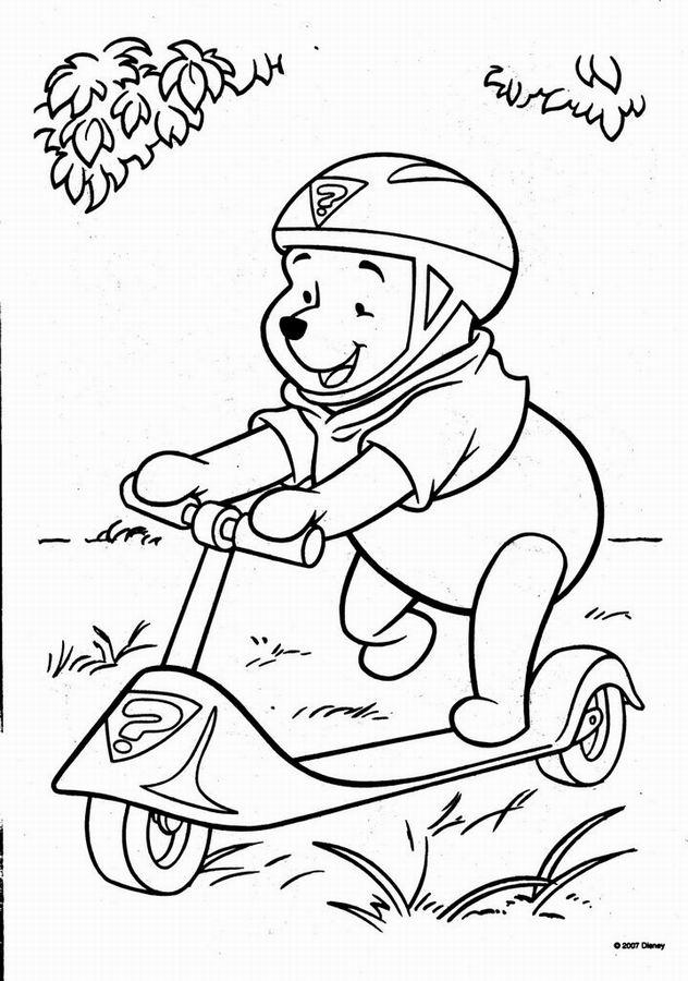 Coloriage a imprimer winnie l ourson sur la trottinette des super ...