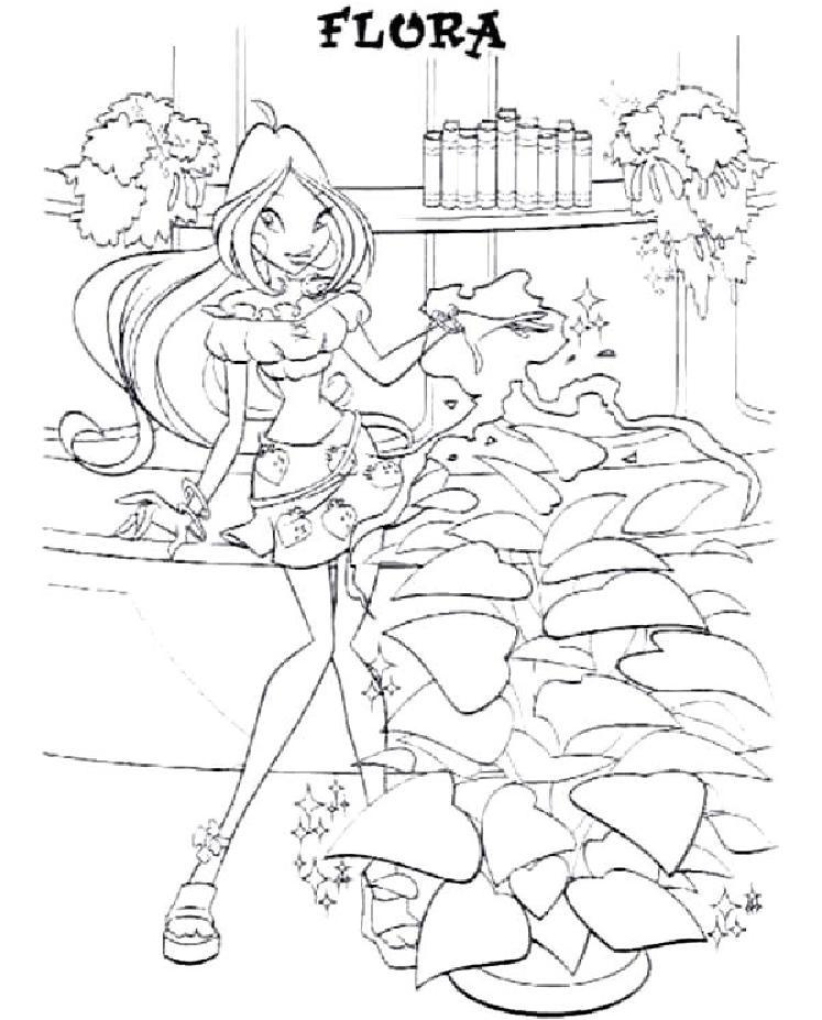 Coloriage a imprimer winx flora gratuit et colorier - Coloriage winx gratuit ...